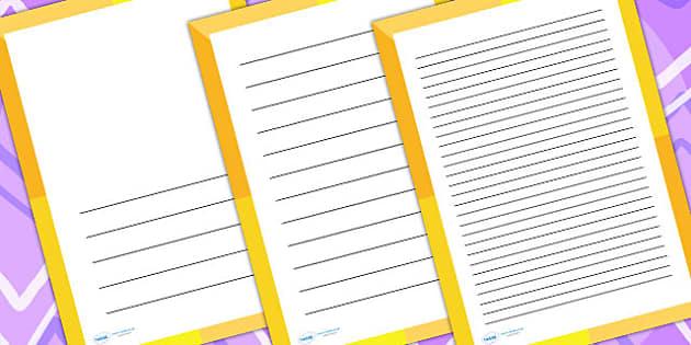 Orange Pattern Page Borders - writing templates, writing border
