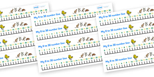 0-30 Number Line (Australian Animals) - Counting, Numberline, Number line, Counting on, Counting back, kangaroo, wallaby, kookaburra, wombat, crocodile, koala, possum