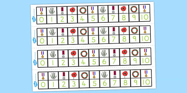 Anzac Day Number Track 1 10 - counting, count, counting aid