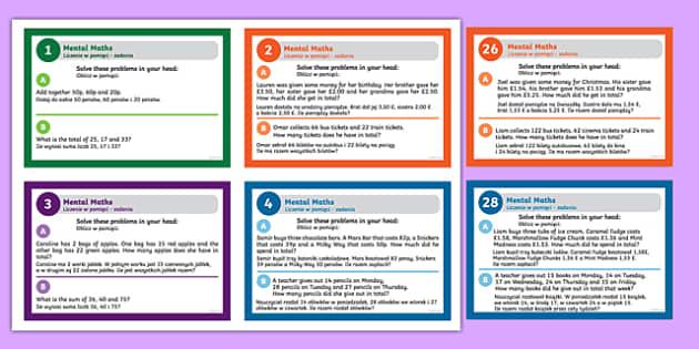 Mental Maths Challenge Cards Polish Translation-Polish-translation
