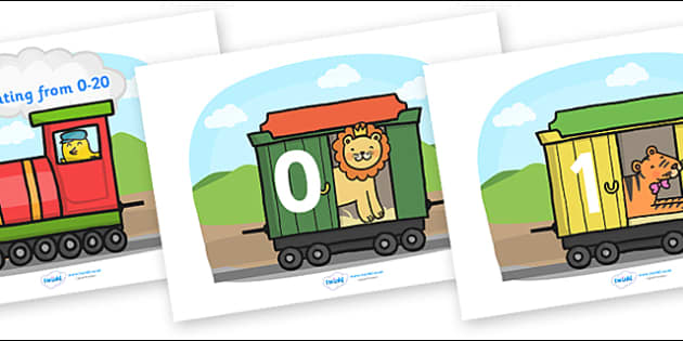 Numbers 0-20 on Train - Foundation Numeracy, Number recognition, Number flashcards, counting, train resource, trains