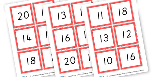Bingo 0-20 - Bingo and Lotto Primary Resources, Bingo, Lotto, Games, Activities