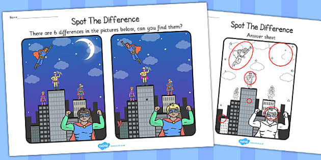 Superheroes Spot the Difference Activity - activities, games