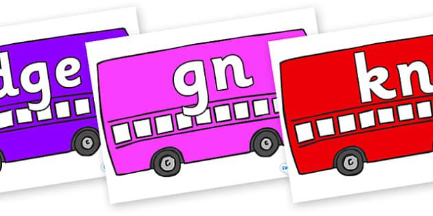 Silent Letters on Buses - Silent Letters, silent letter, letter blend, consonant, consonants, digraph, trigraph, A-Z letters, literacy, alphabet, letters, alternative sounds