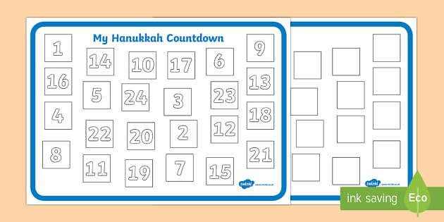 Design a Hanukkah Countdown - design, hanukkah, calendar, date, days, weeks, month, activity, countdown