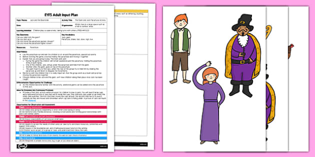 The Giant and Jack Parachute Activity EYFS Adult Input Plan - the giant and jack, parachute, activity, eyfs, adult input plan
