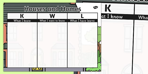 Houses and Homes Topic KWL Grid - houses, homes, kwl, grid, topic