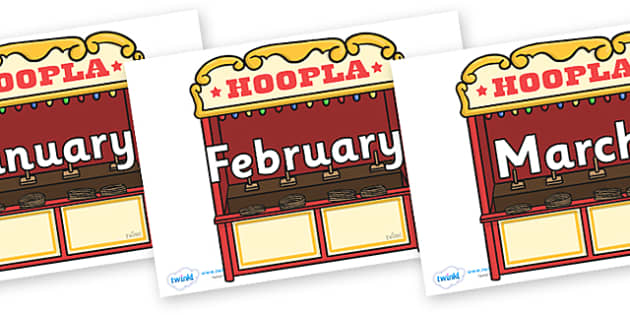 Months of the Year on Hoopla Stands - Months of the Year, Months poster, Months display, display, poster, frieze, Months, month, January, February, March, April, May, June, July, August, September