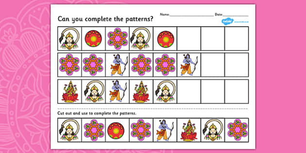Diwali Complete the Pattern Worksheet - patterns, hinduism, RE