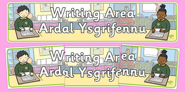 Writing Area Sign Welsh Translation - welsh, cymraeg, Foundation Phase, Writing Area, Display Banner