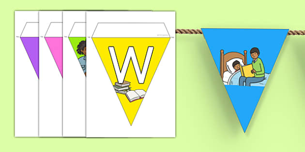 World Book Day Bunting - books, read, reading, world book day