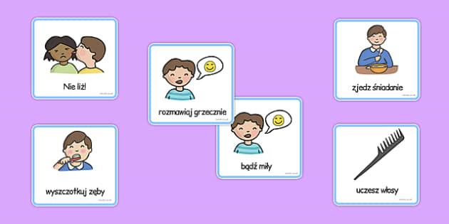 Karty komunikacyjne Podstawowe czynności (chłopiec) po polsku
