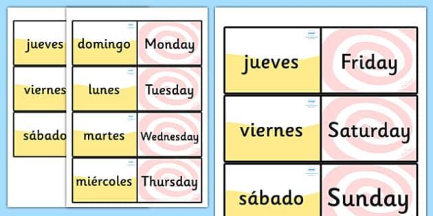 Tarjetas bilingües de buscar y emparejar Los días de la semana en inglés - inglés, días de la semana