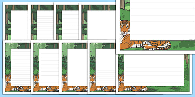 The Tyger Page Borders - tyger, page borders, page, borders, writing frame