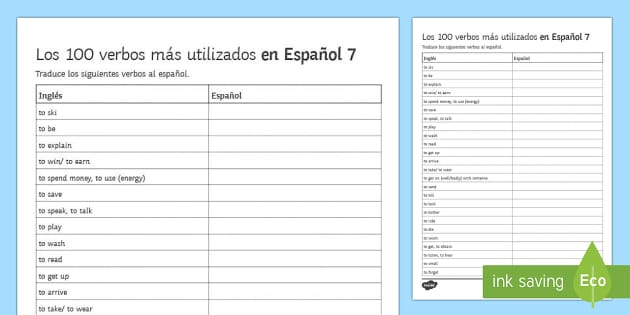 100 High Frequency Verbs 7 Activity Sheet Spanish