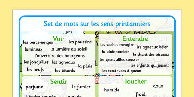 Spring Themed Senses Word Mat French -  EAL, translated, season, springtime, science, nature