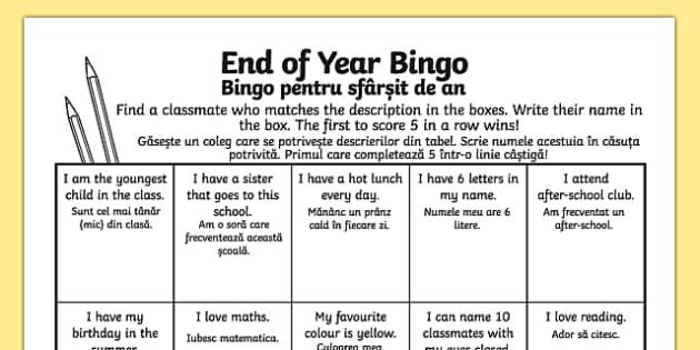 Last Day of School Bingo Activity Sheet Romanian Translation - romanian, last day of school, bingo, activity, worksheet