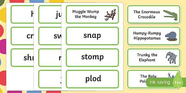 The Enormous Crocodile Movement Word Cards