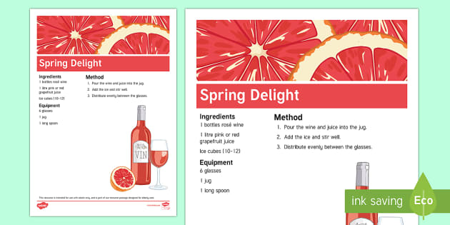 Spring Alcoholic Drink Recipe - Spring, Easter, Care Homes, Elderly Care, Ideas, Support, Activity Co-ordinators, Season, Drink
