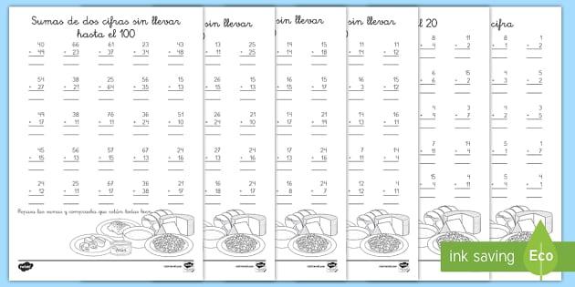 Aprende a sumar - La comida Fichas de actividad - comida, sumas, adición, matemáticas, sumas llevando, sumas sin llevar, sumas de una cifra, sumas d