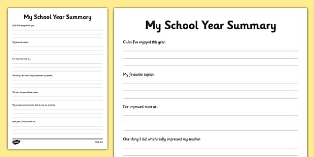 KS1 My School Year Summary Activity Sheet, worksheet
