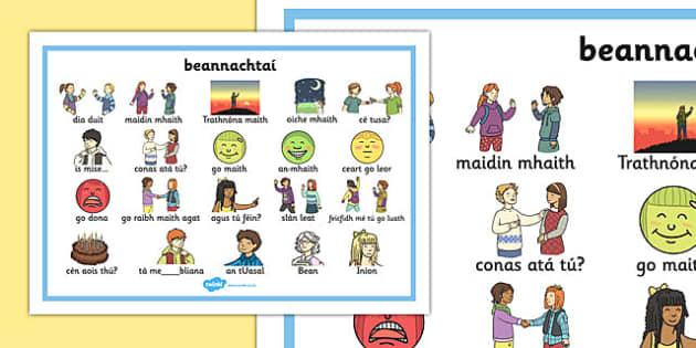 beannachtaí Word Mat Gaeilge - gaeilge, getting to know you, word mat, know, you, word, mat