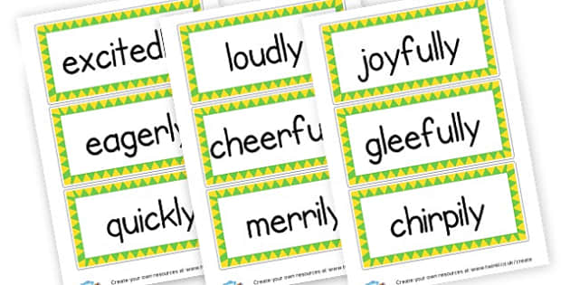 Adverbs Display Labels - KS2 Verbs and Adverbs Primary Resources, Verbs, Adverbs, KS2 Words