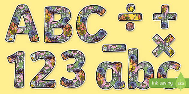 Floral Themed Display Letters and Numbers Pack