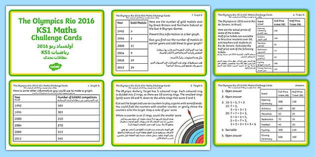The Olympics Rio 2016 ks1 Cards Arabic Translation - KS1, Maths, Olympics, Graphs, olympic torch, targets, archery, halving, combinations, rugby sevens,,rugby union,six nations, 6 nations,adjacent consonants,adjacent consonants,olypics,olimpics,olymi