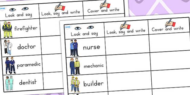 People Who Help Us Word Practise Worksheets - word practise, word