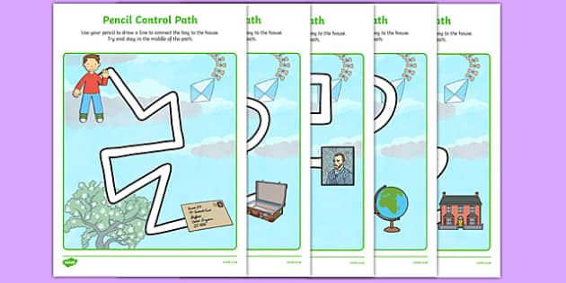 Flat Boy Pencil Control Path Worksheets - flat stanley, flat boy, jeff brown, pencil control path
