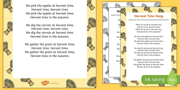 Harvest Time Song