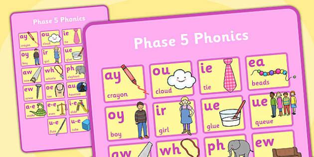Phase 5 Phonics Large Poster - phase 5, phonics, poster, display