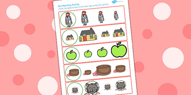 Little Red Riding Hood Size Matching Worksheets - size matching