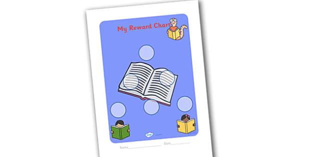 Literacy Themed Sticker Reward Chart 30mm - literacy reward chart, literacy chart, literacy sticker chart, literacy sticker reward chart, 30 sticker chart