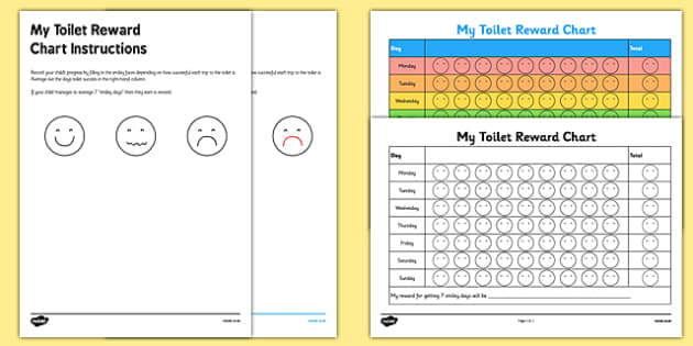 Toilet Training Reward Progress Chart - charts, chart, award, well done, reward, medal, rewards, school, general, achievement