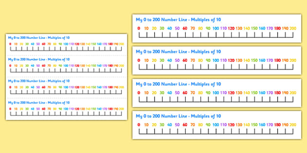 0-200 Number Line Multiples of 10 - 0-200, number line, multiples of 10, multiples, numberline