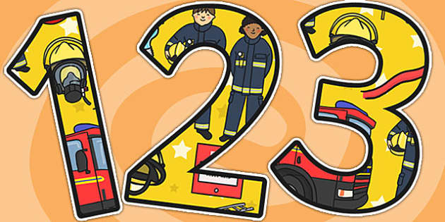 Fire Service Themed A4 Display Numbers - fire, fireman, numbers