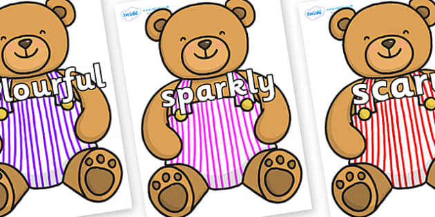 Wow Words on Dungaree Teddy - Wow words, adjectives, VCOP, describing, Wow, display, poster, wow display, tasty, scary, ugly, beautiful, colourful sharp, bouncy