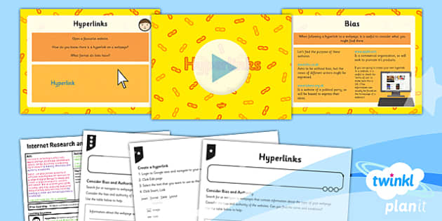 PlanIt - Computing Year 5 - Internet Research and Webpage Design Lesson 5: Hyperlinks Lesson Pack - planit, computing
