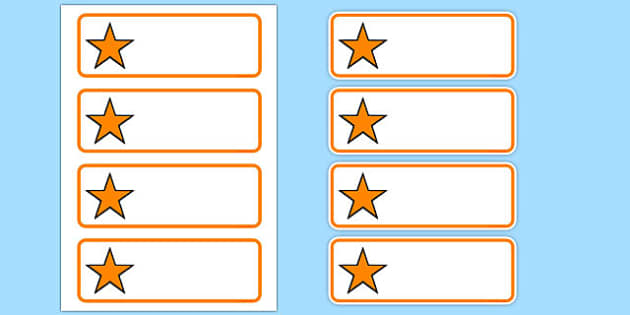 Editable Orange Stars Drawer, Peg, Name Labels - Editable Label Templates, star, stars, Resource Labels, Name Labels, Editable Labels, Drawer Labels, Coat Peg Labels, Peg Label, KS1 Labels, Foundation Labels, Foundation Stage Labels, Teaching Label