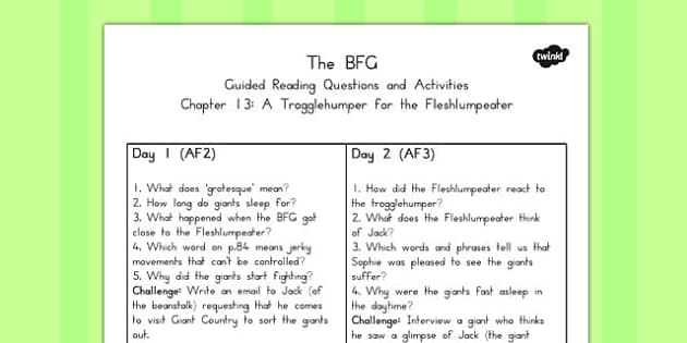 Guided Reading Questions Chapter 13 to Support Teaching on BFG - australia, bfg, guided reading