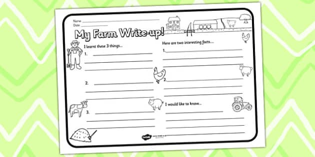 Farm Themed Write Up Worksheet - farm, writing aid, literacy