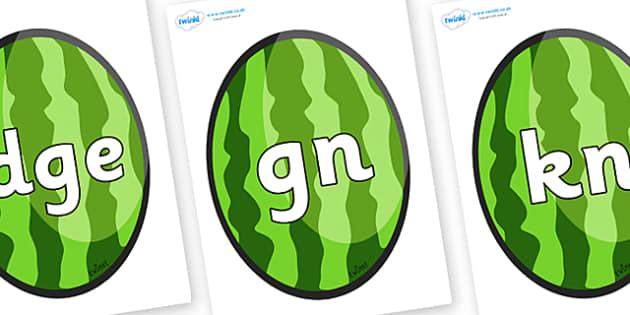 Silent Letters on Melons (Vertical) - Silent Letters, silent letter, letter blend, consonant, consonants, digraph, trigraph, A-Z letters, literacy, alphabet, letters, alternative sounds