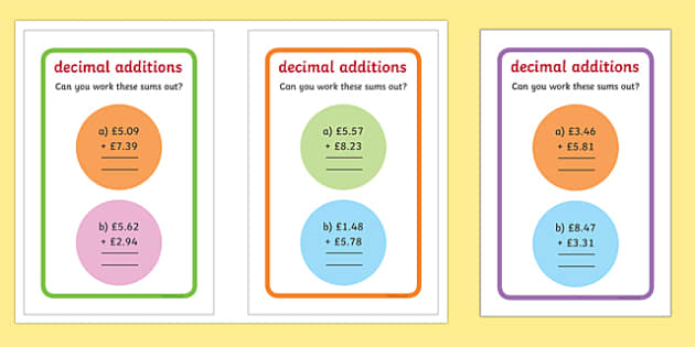 IKEA Tolsby Decimals Additions Maths Challenge Cards - ikea tolsby, decimals, additions, maths challenge cards, maths, challenge