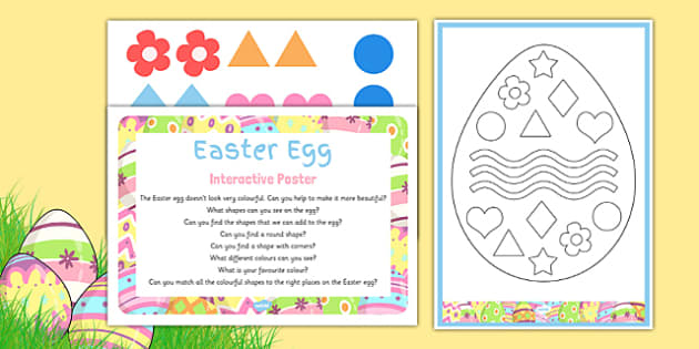 Easter Egg EYFS Interactive Poster and Resource Pack - Easter Shapes, Colours