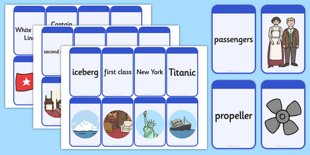 The Titanic Matching Flashcards - titanic, match, flashcards