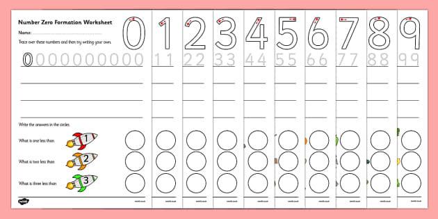 Number Formation Worksheets (0-9) - education, home school, free