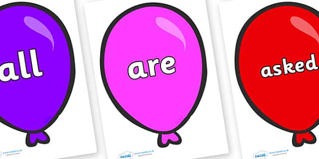 Tricky Words on Party Balloons - Tricky words, DfES Letters and Sounds, Letters and sounds, display, words