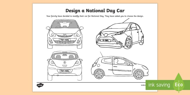 UAE National Day   design a car cover Activity Sheet